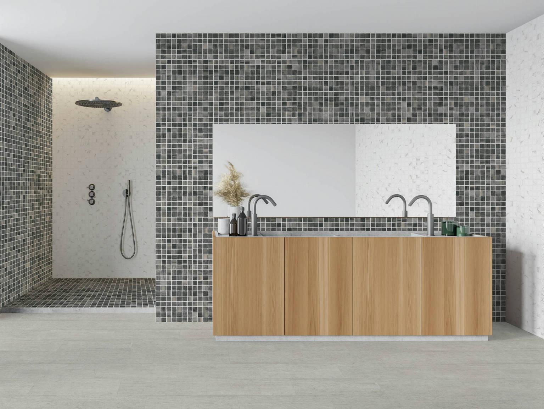 Mosaico Madera Grafito - Mosaico Milán | Hispania Cerámica