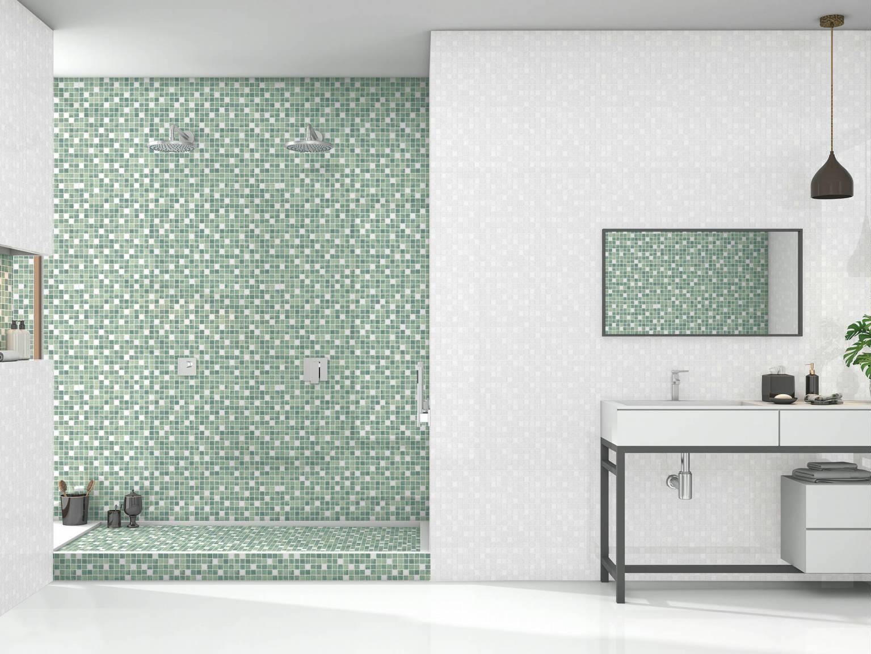 Mosaico Verde - Mosaico Perla | Hispania Cerámica